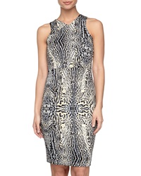Romeo And Juliet Couture Animal Print Scuba Dress Blue Combo