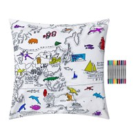 Eat Sleep Doodle World Map Pillowcase Black And White