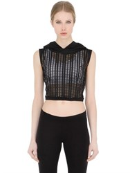Freddy Hooded Laser Cut Cropped Top