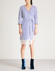 Moandco. Striped Cotton Dress Blue And White