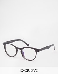 Reclaimed Vintage Glanz Round Clear Lens Glasses Black