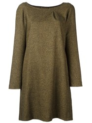 Douuod Boat Neck Shift Dress Green