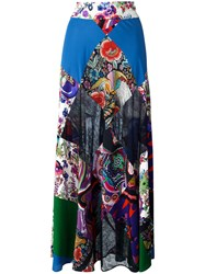 Roberto Cavalli Patchwork Flared Long Skirt
