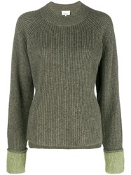 3.1 Phillip Lim Ribbed Crew Neck Pullover Green
