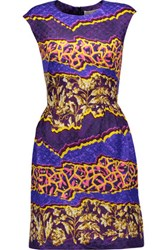 Peter Pilotto Printed Silk Jacquard Mini Dress Purple