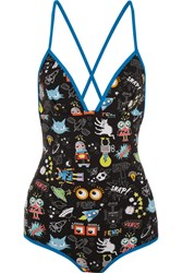 Fendi Printed Swimsuit Bright Blue