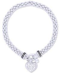 Nine West Weave Style Pave Heart Charm Stretch Bracelet Silver