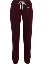 Re Done Embellished French Cotton Terry Track Pants Burgundy