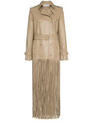 Valentino Fringed Hem Leather Trench Coat Neutrals