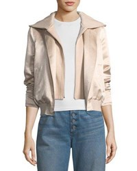 A.L.C. Edison Mixed Media Zip Front Hooded Bomber Jacket Light Pink