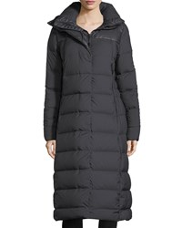 The North Face Cryos Long Zip Front Quilted Puffer Parka Coat Black
