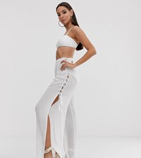 South Beach Exclusive Tie Up Split Trousers In White