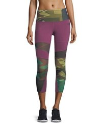 The North Face Motivation Zigzag Printed Compression Tights Purple Pattern