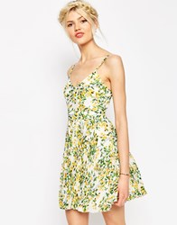 Asos Sheer And Solid Pleated Mini Dress In Yellow Floral Multi