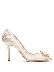 Dolce And Gabbana Belluci Crystal Embellished Lace Pumps White