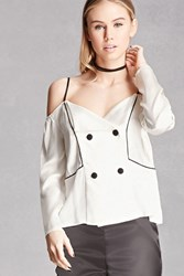 Forever 21 Line And Dot Open Shoulder Top White Onerror Javascript Fnremovedom 'Colorid_01