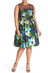 Plus Size Women's London Times Illusion Yoke Floral Print Shantung Fit And Flare Dress