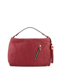 Connie Leather Hobo Bag Burgundy Oryany Red