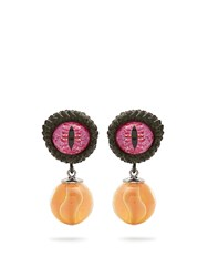 Givenchy Eye And Marble Earrings Khaki
