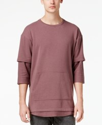 American Rag Men's Layered T Shirt Created For Macy's Burnt Mauve