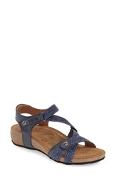 Women's Taos 'Trulie' Wedge Sandal Navy Leather