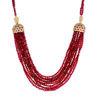 Latelita London Cascading Tassel Statement Necklace Ruby Red Gold Pink