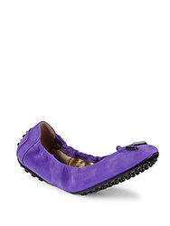 Tod's Dee Laccetto Suede Ballet Flats Purple