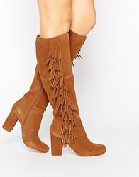 River Island Side Fringe Knee High Boot Tan