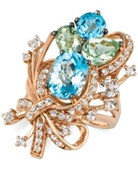 Le Vian Blue Topaz White Topaz And Green Quartz Cluster Ring In 14K Rose Gold 7 Ct. T.W.