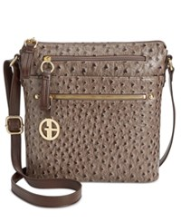Giani Bernini North South Ostrich Printed Crossbody Only At Macy's Grey