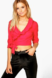 Boohoo Ruffle Wrap Over Front L S Top Red