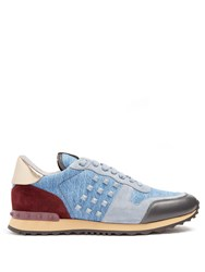 Valentino Rockrunner Denim Trainers Blue Multi