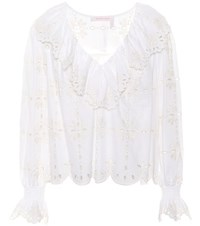 See By Chloe Embroidered Cotton Top White