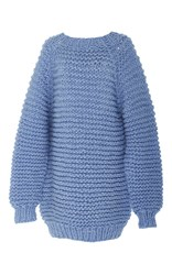 I Love Mr. Mittens Mock Neck Knit Sweater Blue