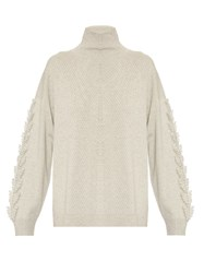 Barrie Troisieme Roll Neck Textured Cashmere Sweater Light Grey