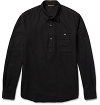 Barena Half Placket Honeycomb Cotton Shirt Black