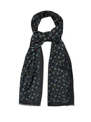 Givenchy Floral Print Cotton And Silk Blend Scarf Navy Multi