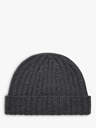 Brora Cashmere Ribbed Beanie Hat Charcoal