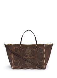 Valentino 'Rockstud' Reversible Elephant Print Tribal Relief Leather Tote Brown
