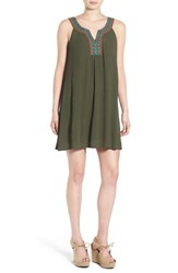As U Wish Women's Embroidered Shift Dress Olive