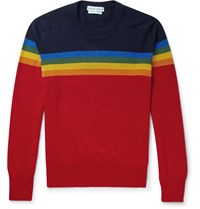 Michael Bastian Slim Fit Rainbow Intarsia Cotton And Cashmere Blend Sweater Blue