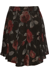 Enza Costa Floral Print Crinkled Chiffon Mini Skirt Red
