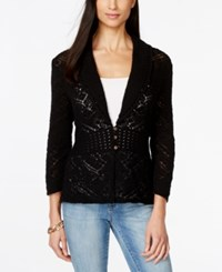 Jm Collection Three Quarter Sleeve Crochet Shawl Collar Cardigan Only At Macy's
