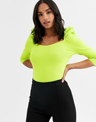 River Island Puff Sleeve Knitted Top In Lime Green