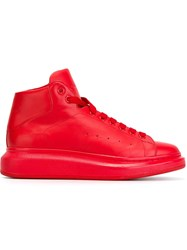 Alexander Mcqueen Extended Sole Hi Top Sneakers Red