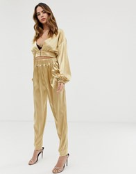 Lioness Tapered Trouser Co Ord In Gold