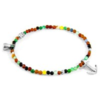 Anchor And Crew Multicoloured Agate Tropic Silver Stone Bracelet
