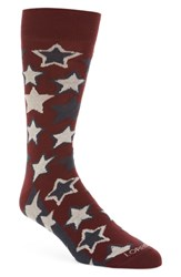 Lorenzo Uomo Red Stars Crew Socks Fire Red