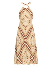 Valentino Chevron Striped Halterneck Silk Dress