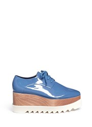 Stella Mccartney 'Elyse' Eco Patent Leather Wood Platform Derbies Blue